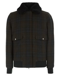 Jaeger Wool Shearling Collar Blouson Olive