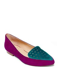 Brian Atwood Villa Two Tone Suede And Calf Hair Loafers Multi Colored