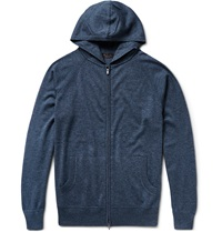 Loro Piana Portland Zip Up Silk And Cashmere Blend Hoodie Blue