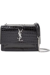 Saint Laurent Sunset Wallet Croc Effect Patent Leather Shoulder Bag Black