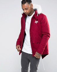 Hype Parka With Faux Fur Hood Burgundy Red