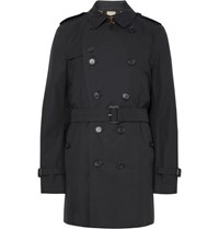 Burberry Kensington Mid Length Weatherproof Cotton Gabardine Trench Coat Midnight Blue