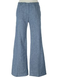 8Pm Stripe Applique Flared Jeans Blue