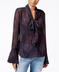 Rachel Roy Tie Neck Bell Sleeve Blouse Only At Macy's Navy Combo