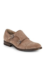 Aquatalia By Marvin K Fallon Suede Monk Strap Brogues Dark Taupe