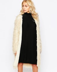 Story Of Lola Oversized Chunky Boho Cardigan In Shaggy Faux Fur Cream