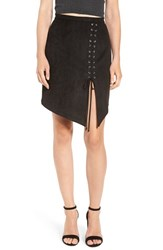 4Si3nna Women's Lace Up Faux Suede Miniskirt