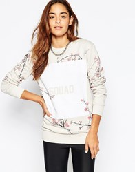 Criminal Damage Oversized Crew Neck Sweatshirt With Floral Squad Print Beige
