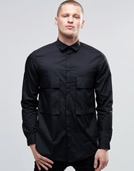 Asos Oversized Shirt In Black With Drop Pocket And Long Sleeves Black