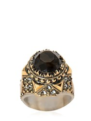 Alexander Mcqueen Glass Stone And Swarovski Brass Ring