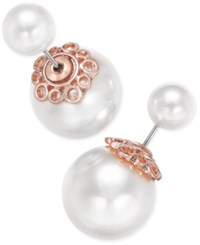 Charter Club Rose Gold Tone Imitation Pearl Reversible Front And Back Earrings Only At Macy's