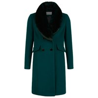 Kaliko Brushed Wool Coat Dark Green