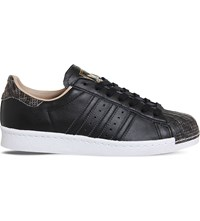 Adidas Superstar 80S Leather Trainers Black Rose Snake Toe