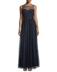 Ml Monique Lhuillier Sleeveless Illusion Evening Gown Sapphire