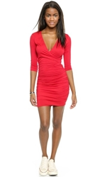 Three Dots Gathered Crossover Dress Red Bloom