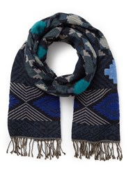 East Aztec Woven Scarf Blue