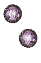 Milor Jewelry Pave Bezel Set Amethyst And Black Spinel Faceted Stone Earrings Metallic