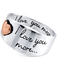 Macy's Engraved Love You Ring In Sterling Silver And Rose Gold Flashed Sterling Silver