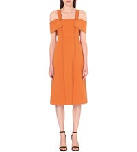Whistles Hester Crepe Dress Bright Orange