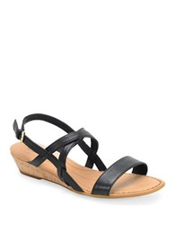 Born Porta Leather Wedge Sandals Black
