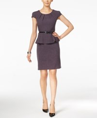 Connected Belted Peplum Sheath Dress Purple