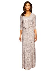 Alex Evenings Plus Lace Gown And Jacket Set Champagne