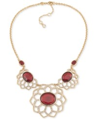 Carolee Gold Tone Stone And Pave Floral Inspired Statement Necklace