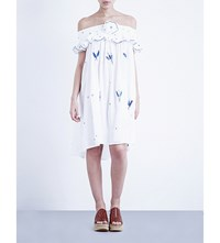 Thierry Colson Pipa Embroidered Cotton Voile Mini Dress Blue On White