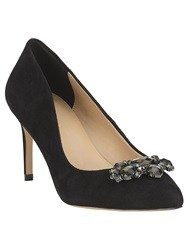 Phase Eight Dahlia Suede Jewel Point Heeled Shoes Black