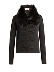 Moncler Detachable Fur Collar Wool Blend Sweater Black