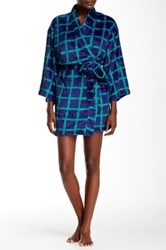 Josie Plaid Plush Robe Blue