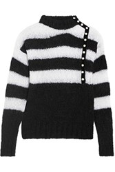 Philosophy Di Lorenzo Serafini Faux Pearl Embellished Striped Mohair Blend Sweater Black