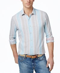 Tasso Elba Men's Big And Tall Vertical Stripe Long Sleeve Linen Blend Shirt Only At Macy's Aqua Combo