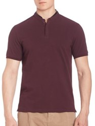 The Kooples Polo Shirt With Leather Collar Red