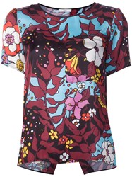 Tome Floral Print T Shirt Pink And Purple