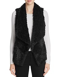 Calvin Klein Draped Faux Fur Vest Black