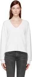 Helmut Lang Off White V Neck Sweater