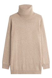 Closed Turtleneck Pullover With Wool And Cashmere Beige