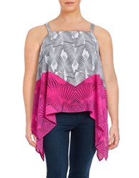 Vince Camuto Plus Printed Asymmetrical Tank Top Pink