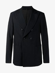 Raf Simons Pin Stripe Virgin Wool Blazer Navy White