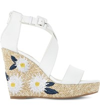 Dune Kesha Leather Embroidered Raffia Wedge Sandals White Leather