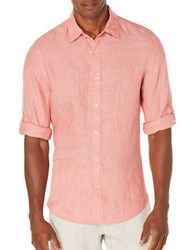 Perry Ellis Textured Rolled Sleeve Linen Shirt Mineral Red