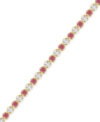 Victoria Townsend Ruby 3 1 6 Ct. T.W. And White Topaz 2 1 5 Ct. T.W. Bracelet In 18K Gold Over Sterling Silver Yellow Gold