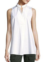 Lafayette 148 New York Sleeveless Cotton Blend Top White