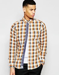 Pull And Bear Pullandbear Checked Shirt In Orange With Neon Marl Orange