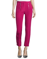 Cnc Costume National Zip Front Slim Leg Cropped Trousers Pink Women's