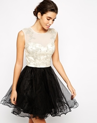 Chi Chi London Lace Prom Dress With Applique And Embellished Bodice Multi
