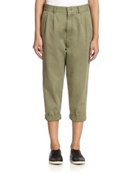 Marc By Marc Jacobs Classic Cotton Cropped Trousers Moore Green