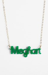 Women's Moon And Lola 'Zebra Block Font' Personalized Nameplate Pendant Necklace Emerald Gold
