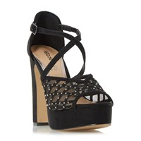 Head Over Heels Mystique Rhinestone Platform Sandals Black